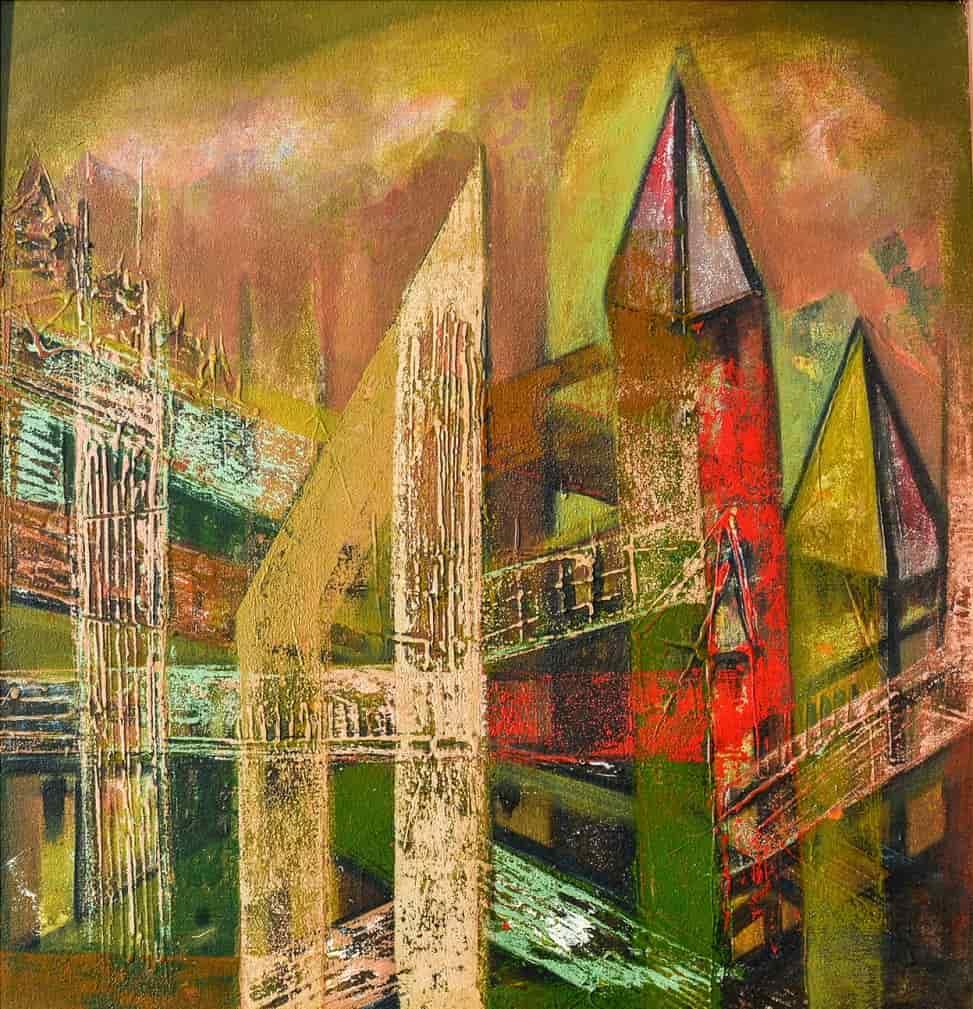 rajib bhattacharjee acrylic on canvas 24x24 inches 1 min